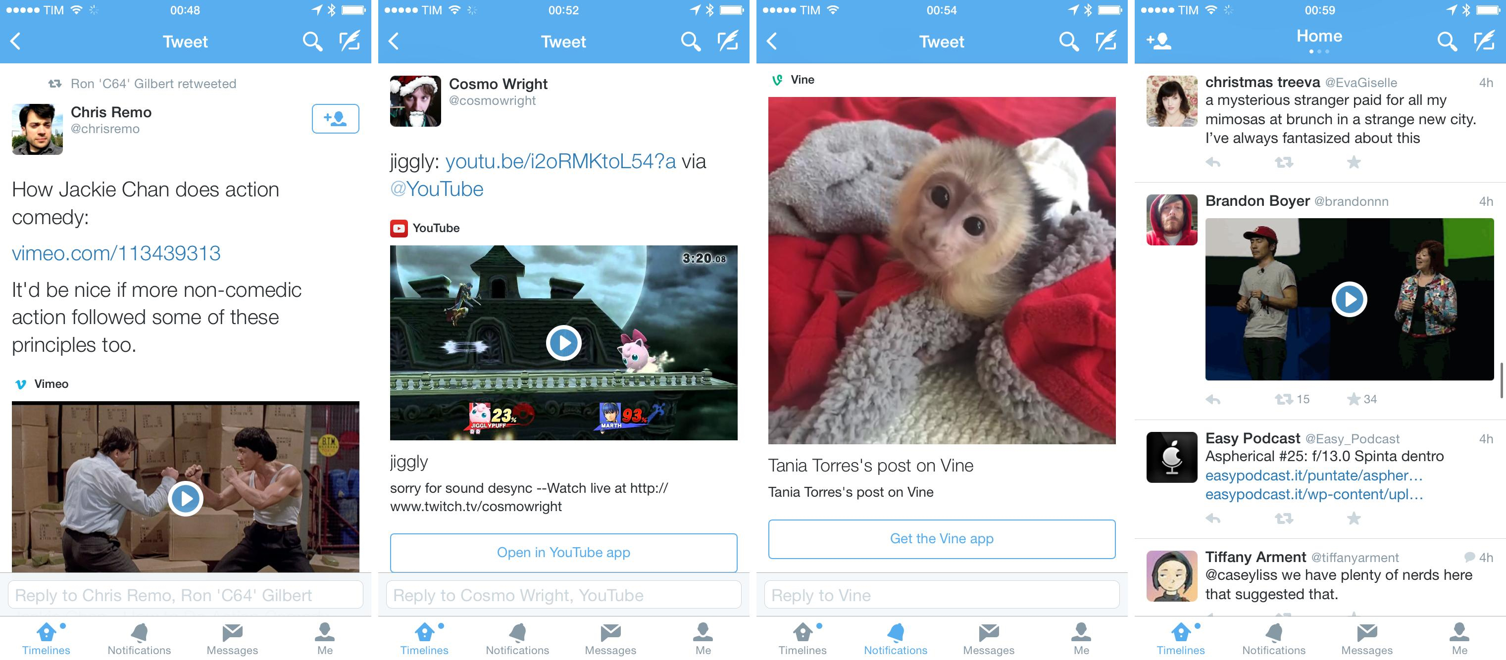 Three video cards and a GIF in Twitter for iOS.