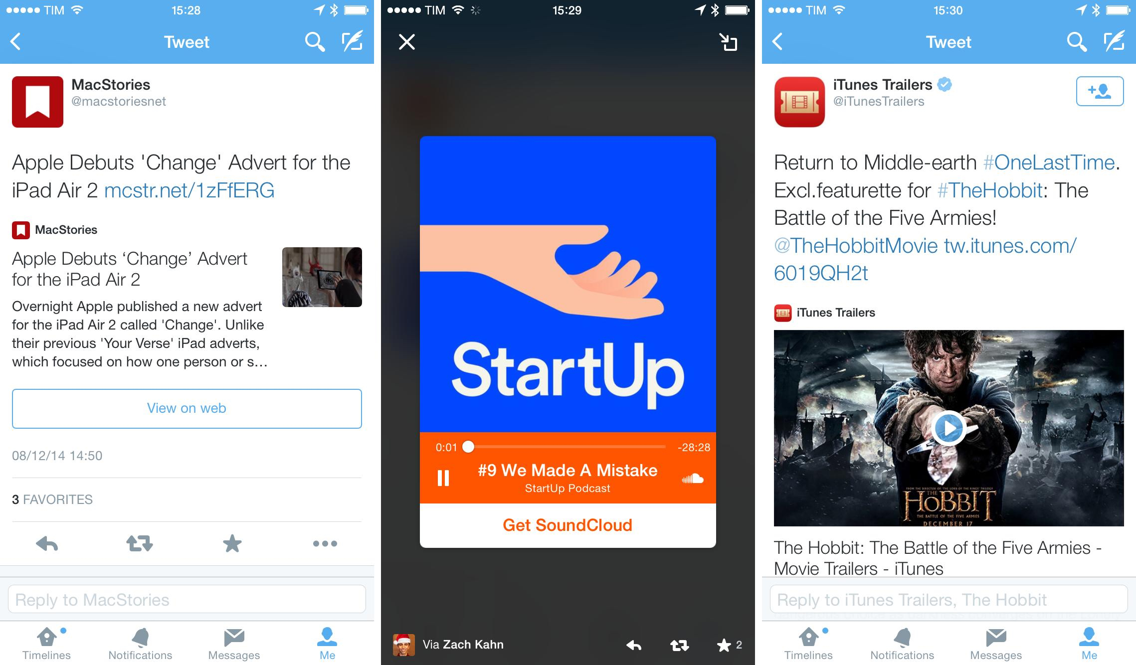 Examples of Twitter Cards.