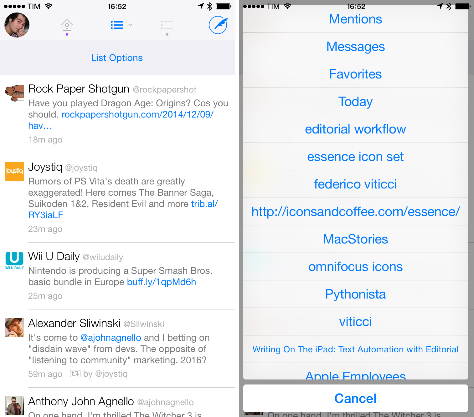 Twitterrific has good support for lists, but it often sacrifices clarity for unified timeline consistency.